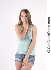 shocked and frightened young woman
