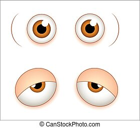 Shocked and Sleepily Comic Eyes - Artistic Cartoon Comic...