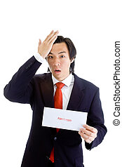 Shocked Asian Man Hand On Head, Foreclosure Notice