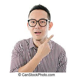 Shocked Asian man