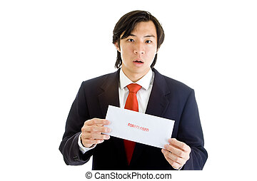Shocked Asian Man Suit Holding Foreclosure Notice
