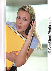 Shocked blond woman