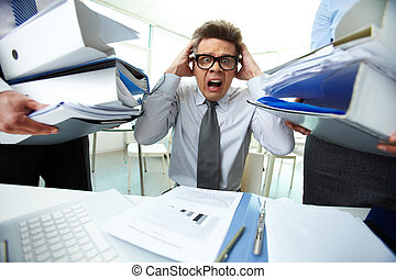 Shocked bookkeeper - Terrified accountant touching his head ...