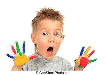 shocked boy - Portrait of an emotional boy enjoying his ...