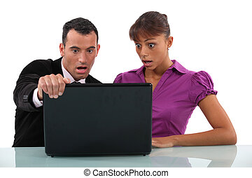Shocked business partnership