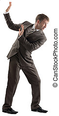 Shocked businessman protecting himself