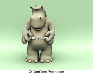 A chubby cartoon hippo looking shocked when measuring his waist.