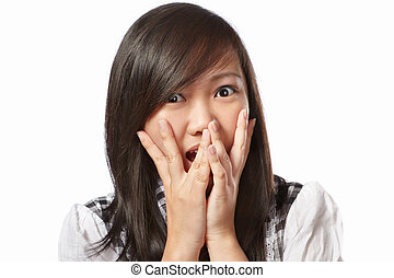 Shocked - Chinese female face with shocked expression, ...