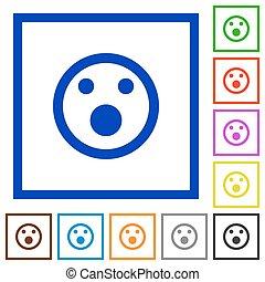 Shocked emoticon framed flat icons
