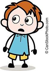 Shocked Expression - School Boy Cartoon Character Vector Illustration