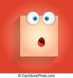 Surprised Funny Cartoon Smiley Face Expression Vector Illustration