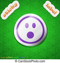 Shocked Face Smiley  icon sign. Symbol chic colored sticky label on green background. Vector