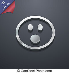 Shocked Face Smiley icon symbol. 3D style. Trendy, modern design with space for your text . Rastrized