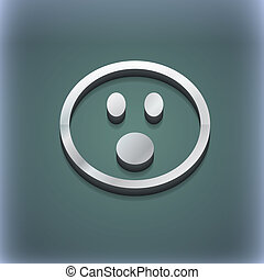 Shocked Face Smiley icon symbol. 3D style. Trendy, modern design with space for your text . Raster