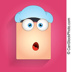 Cartoon Surprised Smiley with Cap Face Expression Vector Illustration