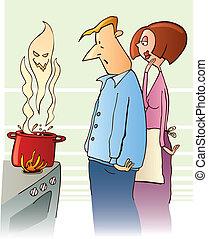 Shocked family boiling toxic soup - Illustration of shocked...