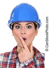 Shocked female builder