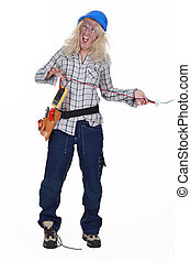Shocked female electrician