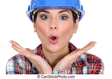 Shocked female worker