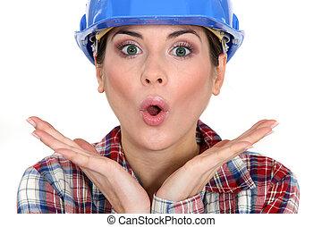Shocked female worker