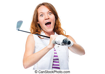 Shocked golfer looking behind the trajectory of a ball flying in front of a white background