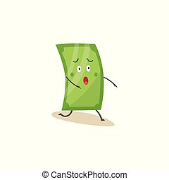 Shocked green dollar character standing on one knee cartoon style