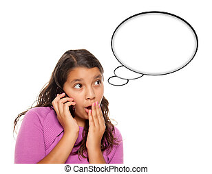 Shocked Hispanic Teen Aged Girl on Cell Phone with Blank...