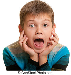 Shocked kid with opened mind