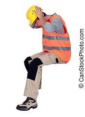 Shocked laborer