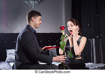 Shocked Lady Received Presents from Boyfriend