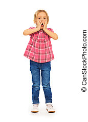 Full height portrait shocked little blond 4 years old girl holding face with hands