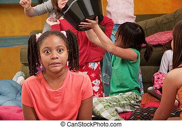 Shocked Little Girl - Shocked little African-American kid at...
