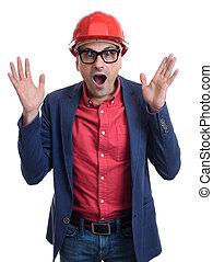 Shocked male builder