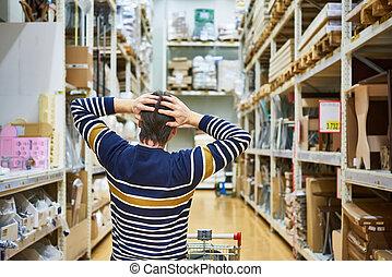 Shocked man in big supermarket