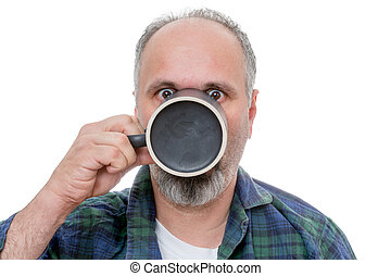 Shocked man with cup in front of face - Single balding and...