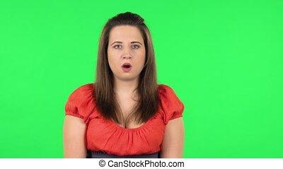 shocked., mon, girl, vert, portrait, proverbe, dieu, oh, ...