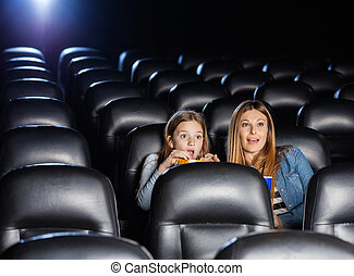 Shocked Mother And Daughter Watching Movie