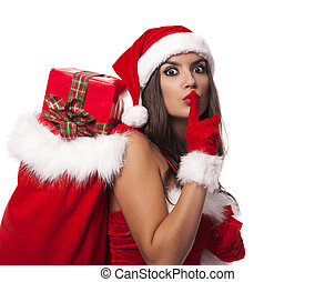 Shocked Mrs claus showing silence sign