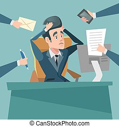 Shocked Multitasking Businessman. Stress at Work. Vector cartoon illustration