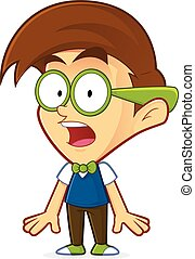 Shocked nerd geek - Clipart picture of a shocked nerd geek...