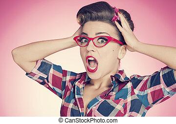 Shocked pin up girl