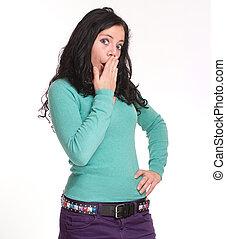 Shocked pretty brunette
