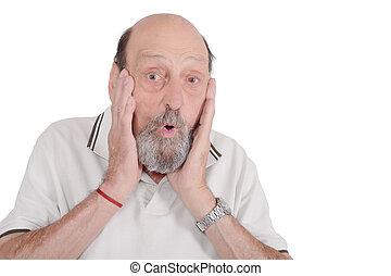 Shocked senior man