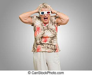 Shocked Senior Woman Wearing 3d Glasses