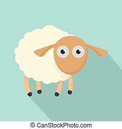 Shocked sheep icon, flat style