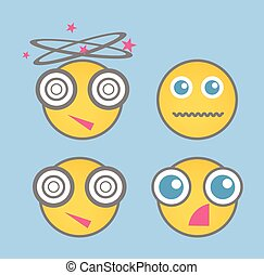 Shocked Smiley Vector Set - Shocked Smiley Set Vector...