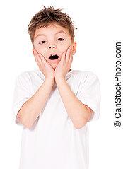 Shocked teen boy