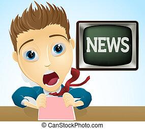An illustration of a cartoon shocked TV news presenter