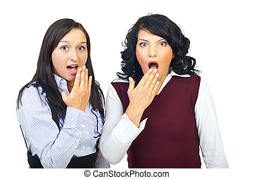 Shocked two women