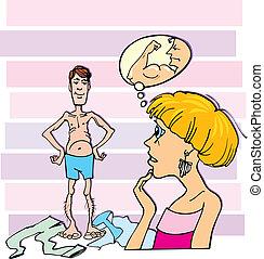 Shocked woman and thin guy - Cartoon illustration of shocked...